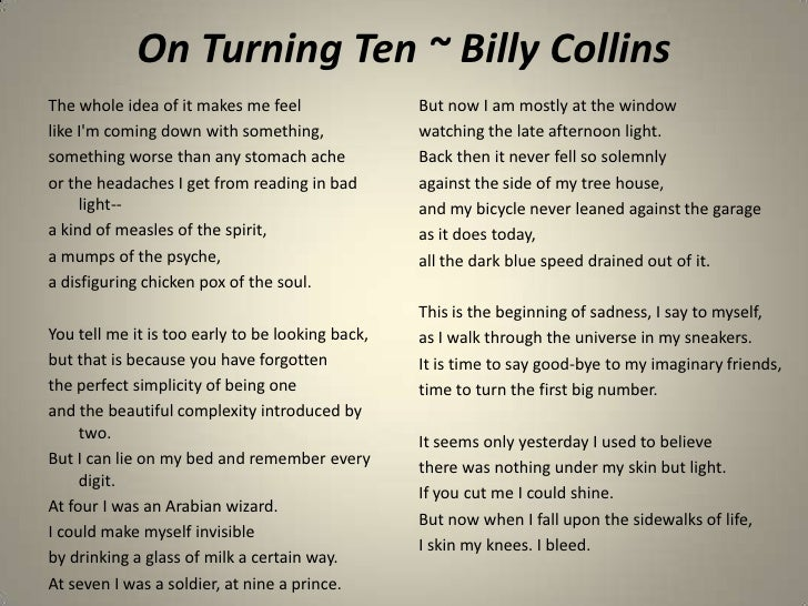 "Example Lesson: ""On Turning Ten"" by Billy Collins"