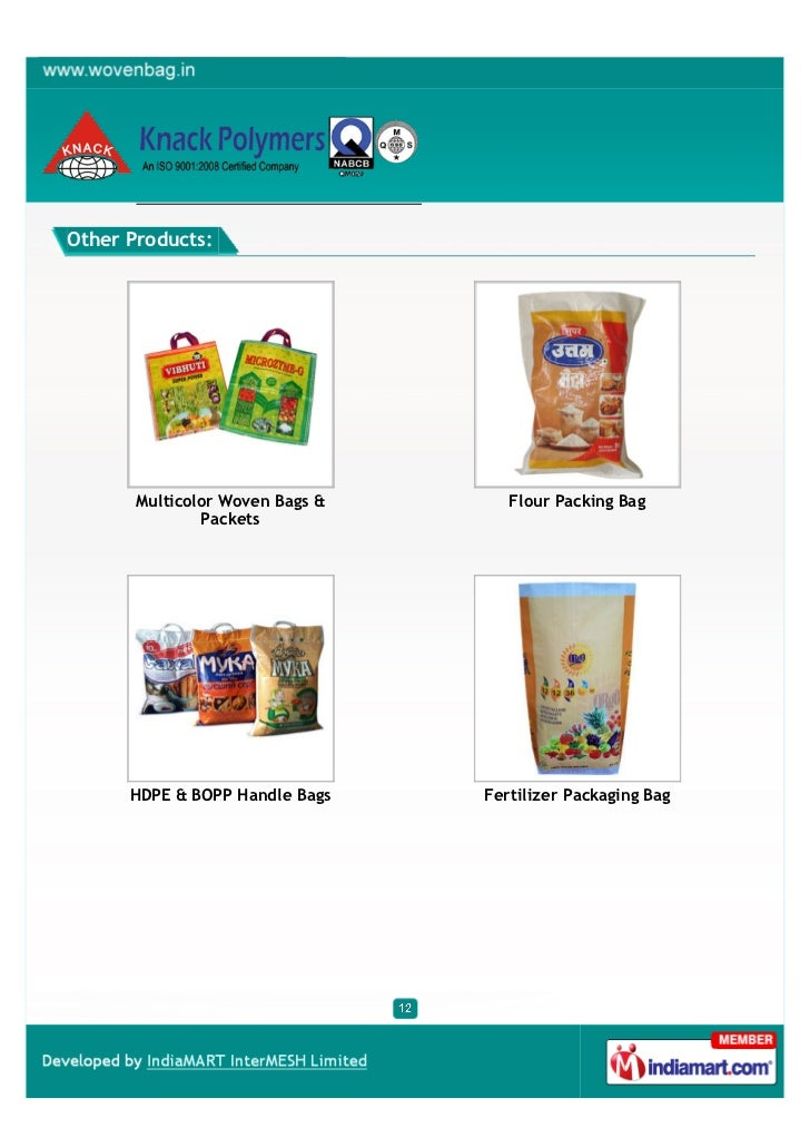 Other Products:       Multicolor Woven Bags &      Flour Packing Bag               Packets      HDPE & BOPP Handle Bags   ...