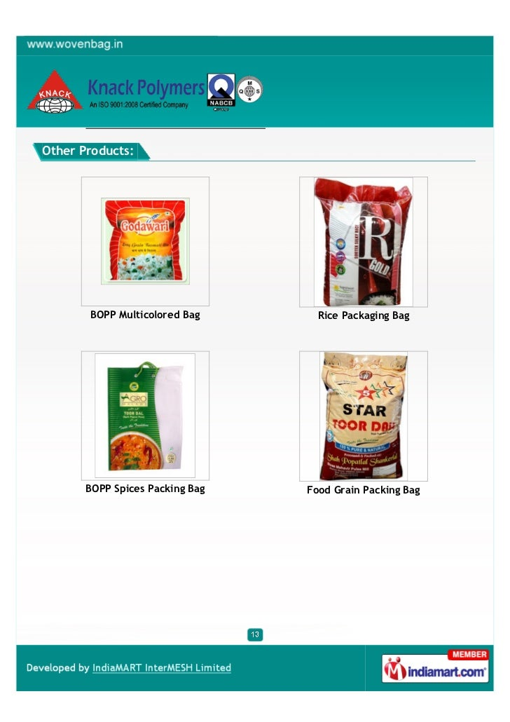 Other Products:       BOPP Multicolored Bag       Rice Packaging Bag       BOPP Spices Packing Bag   Food Grain Packing Bag