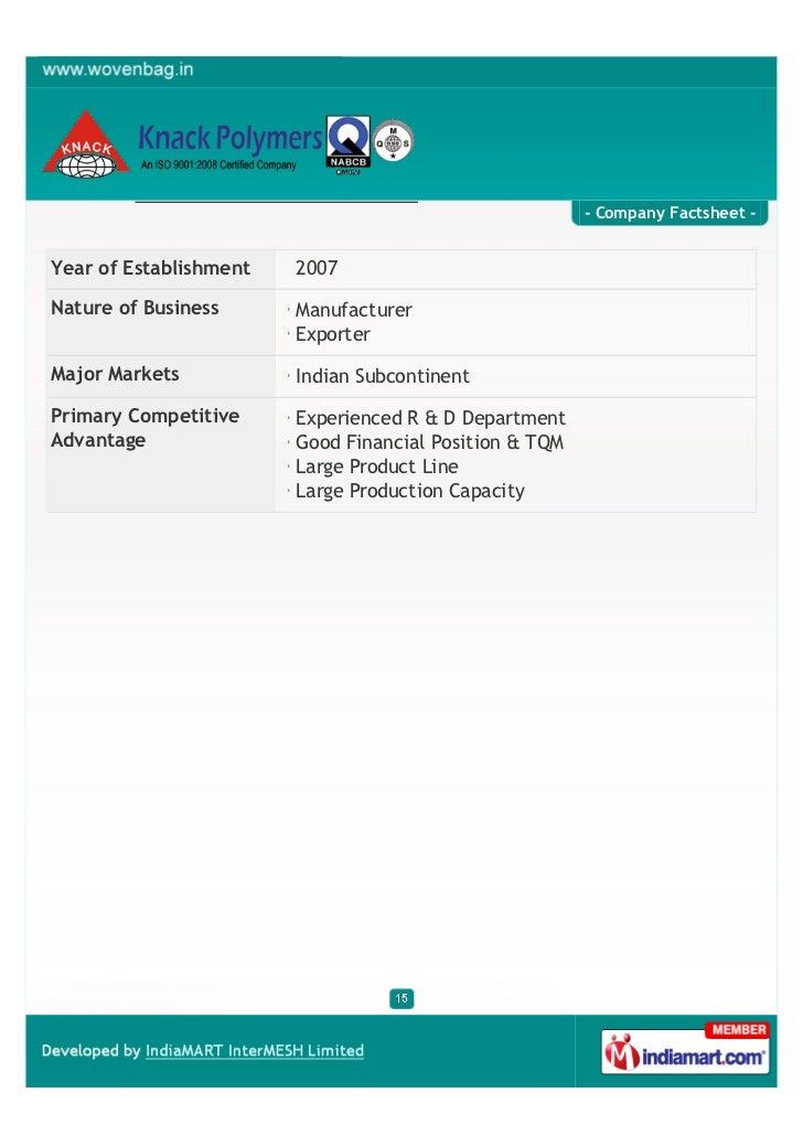 - Company Factsheet -Year of Establishment   2007Nature of Business      Manufacturer                        ExporterMajor...
