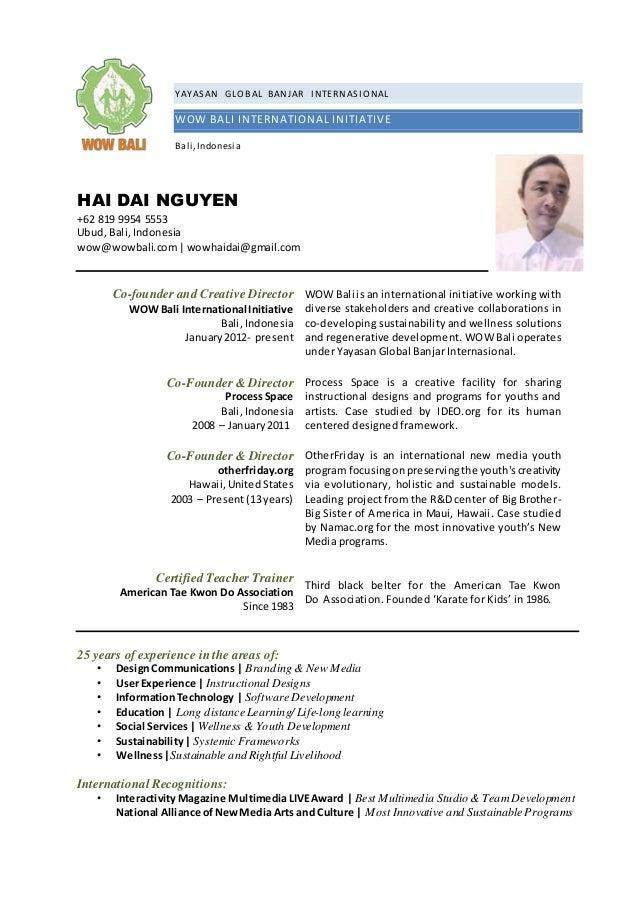 YAYASAN GLOBAL BANJAR INTERNASIONAL WOW BALI INTERNATIONAL INITIATIVE Bali,Indonesia HAI DAI NGUYEN +62 819 9954 5553 Ubud...