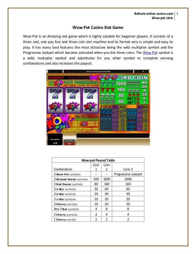 Play Wow pot casino slot game at Betluck - 웹