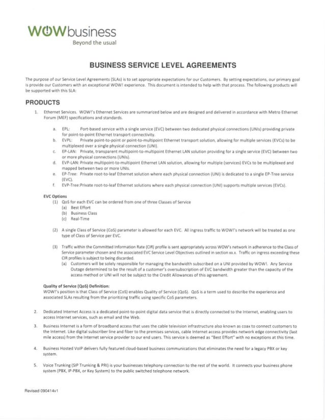 *n/ (Dln/ Business Beyondtheusuä BUSINESS SERVICE LEVEL AGREEMENTS The  Purpose Of Ou ...