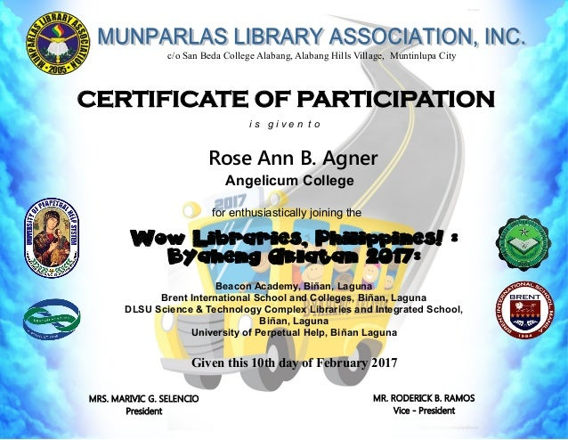 Wow Libraries Philippines Certificates Unofficial For