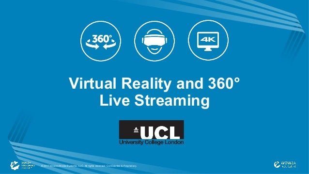 Virtual Reality and 360° Live Streaming © 2017 Wowza Media Systems, LLC. All rights reserved. Confidential & Proprietary.