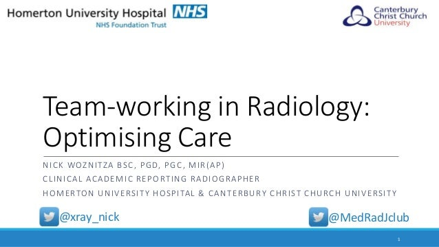 Team-working in Radiology: Optimising Care NICK WOZNITZA BSC, PGD, PGC, MIR(AP) CLINICAL ACADEMIC REPORTING RADIOGRAPHER H...