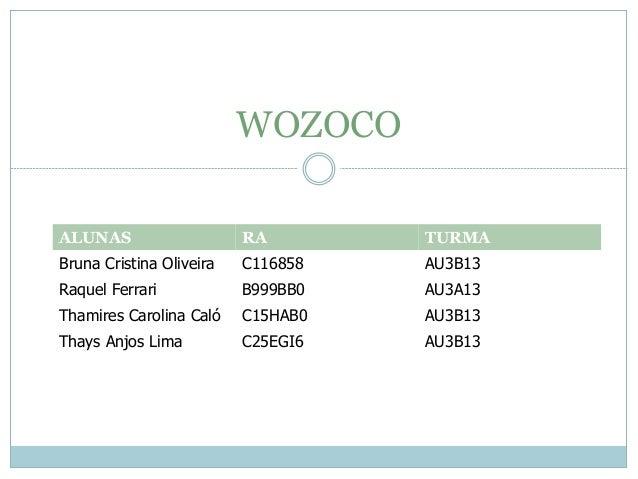 WOZOCO ALUNAS RA TURMA Bruna Cristina Oliveira C116858 AU3B13 Raquel Ferrari B999BB0 AU3A13 Thamires Carolina Caló C15HAB0...