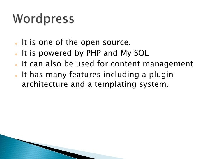    It is one of the open source.    It is powered by PHP and My SQL    It can also be used for content management    I...