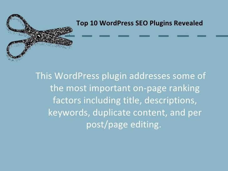 Top 10 WordPress SEO Plugins Revealed. slideshare - 웹