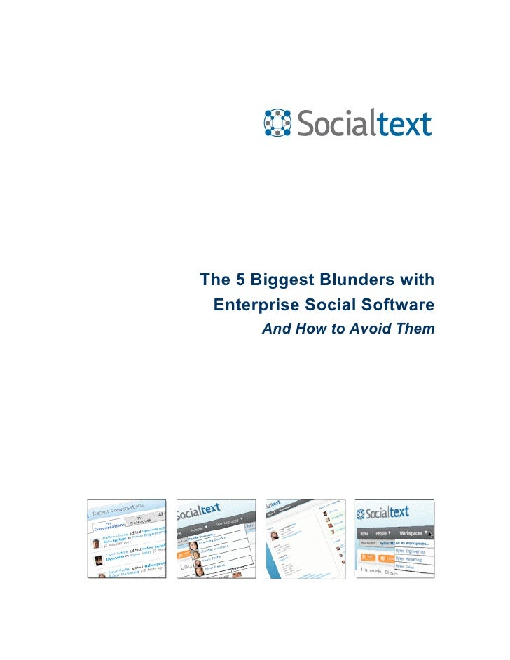 The 5 Biggest Blunders with  Enterprise Social Software        And How to Avoid Them