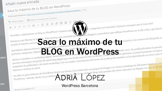 Ɓ Saca lo máximo de tu BLOG en WordPress WordPress Barcelona