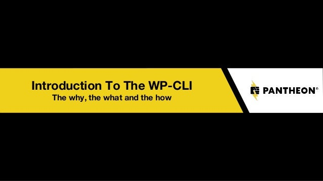 Introduction To The WP-CLI The why, the what and the how