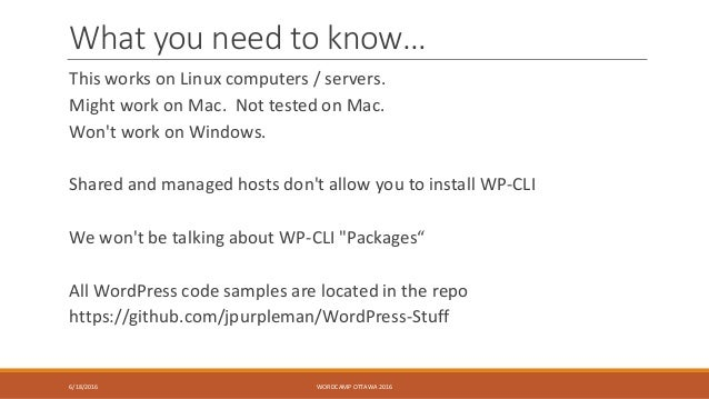 What you need to know… This works on Linux computers / servers. Might work on Mac. Not tested on Mac. Won't work on Window...