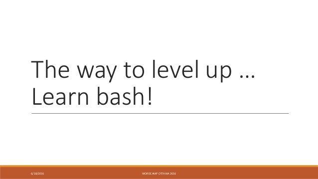 The way to level up … Learn bash! 6/18/2016 WORDCAMP OTTAWA 2016