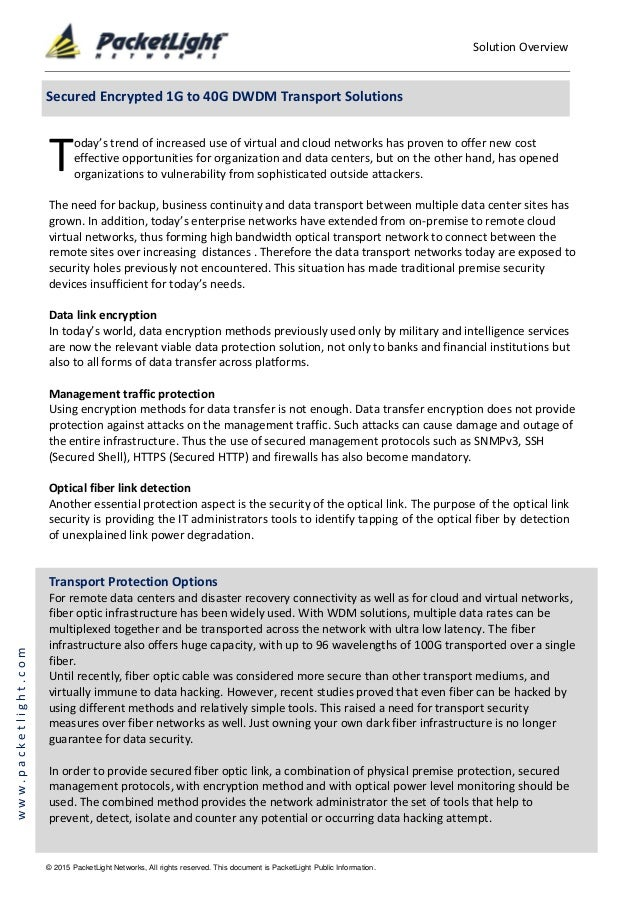 Solution Overview © 2015 PacketLight Networks, All rights reserved. This document is PacketLight Public Information. www.p...