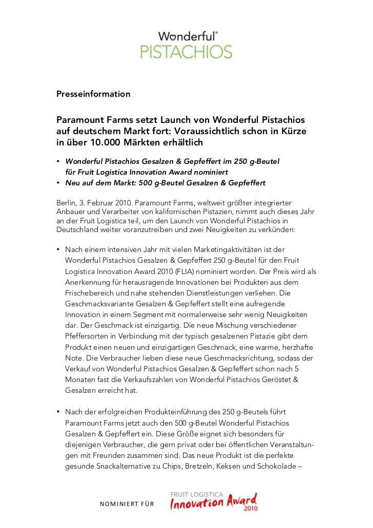 PresseinformationParamount Farms setzt Launch von Wonderful Pistachiosauf deutschem Markt fort: Voraussichtlich schon in K...