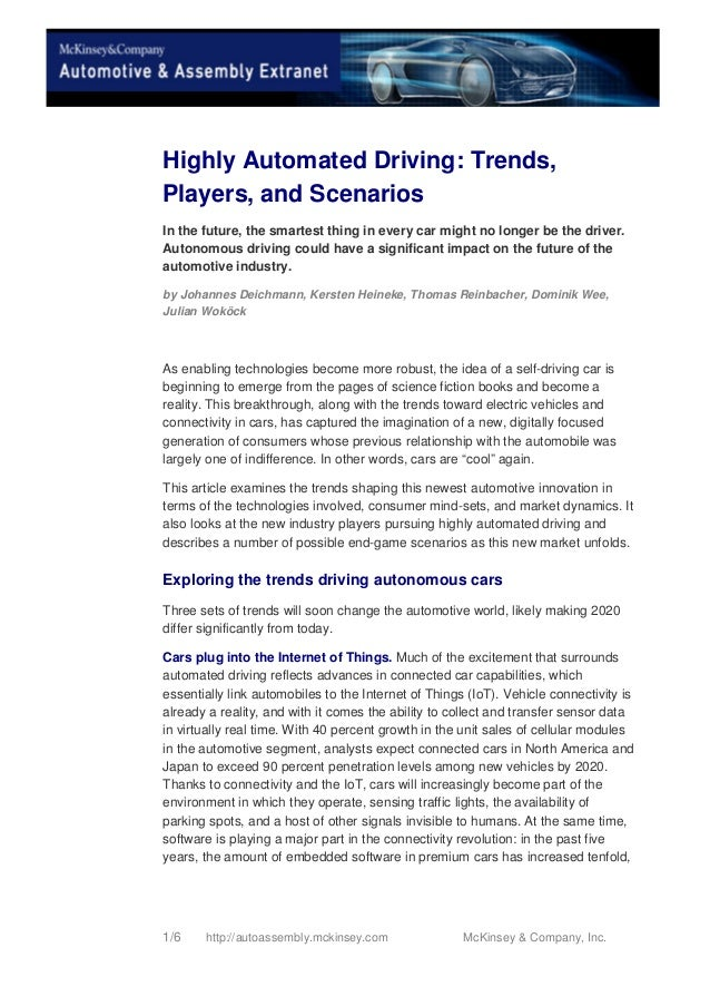 Highly Automated Driving