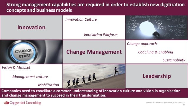 Copyright © 2015 Capgemini Consulting. All rights reserved. 19 Strong management capabilities are required in order to est...