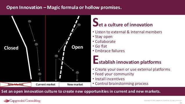 Copyright © 2015 Capgemini Consulting. All rights reserved. 22 Open Innovation – Magic formula or hollow promises. Closed ...
