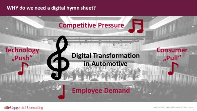 Copyright © 2015 Capgemini Consulting. All rights reserved. 3 WHY do we need a digital hymn sheet? Competitive Pressure Em...