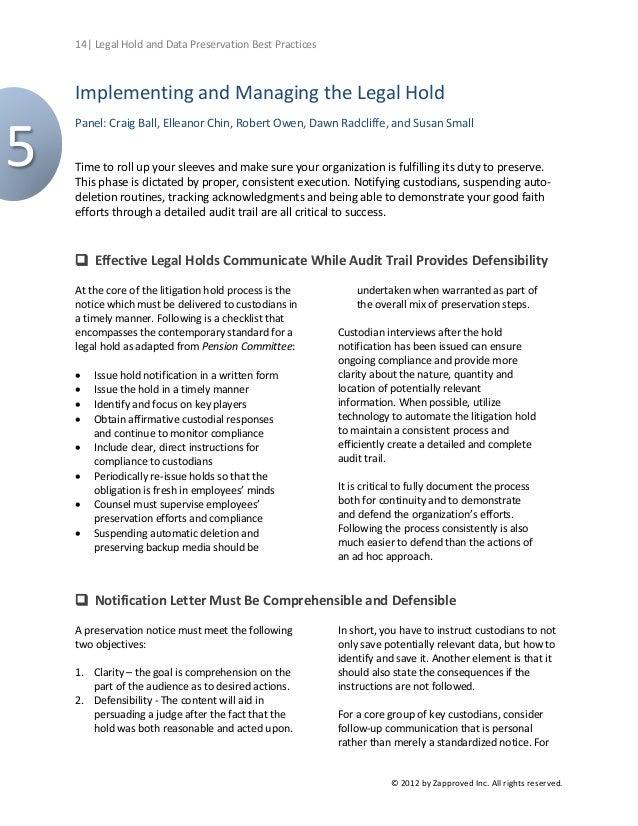 Litigation Hold Letter Sample.Legal Hold And Data Preservation Best Practices