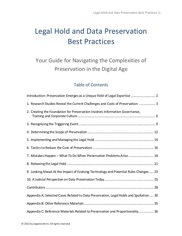 Legal Hold And Data Preservation Best Practices