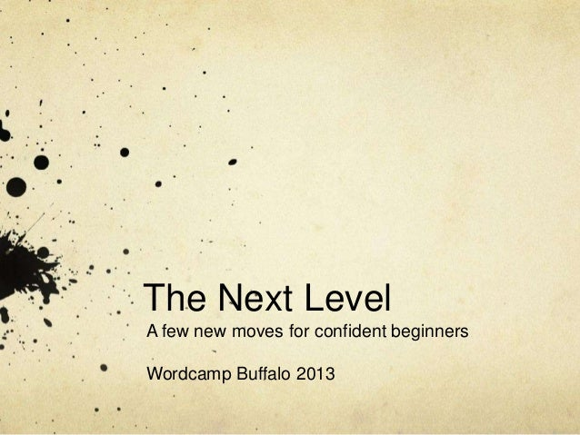 The Next Level A few new moves for confident beginners Wordcamp Buffalo 2013