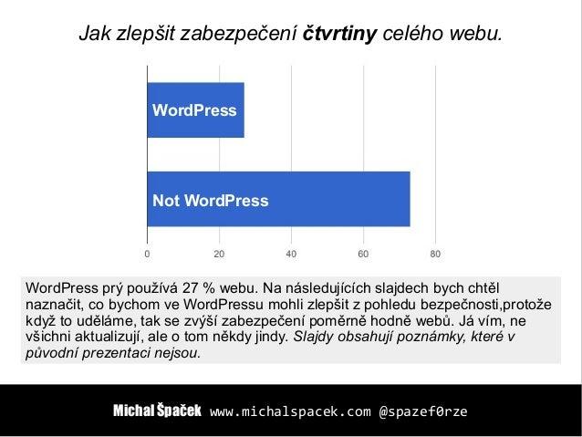 Michal ŠpačekMichal Špaček www.michalspacek.comwww.michalspacek.com @spazef0rze@spazef0rze WordPress Not WordPress Jak zle...