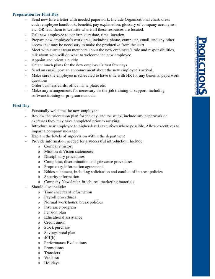 Projections' Orientation Checklist
