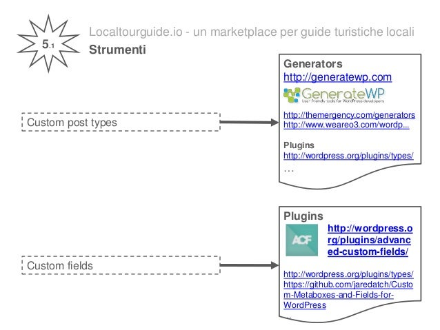 Localtourguide.io - un marketplace per guide turistiche locali Strumenti5.1 Custom post types Custom fields Generators htt...