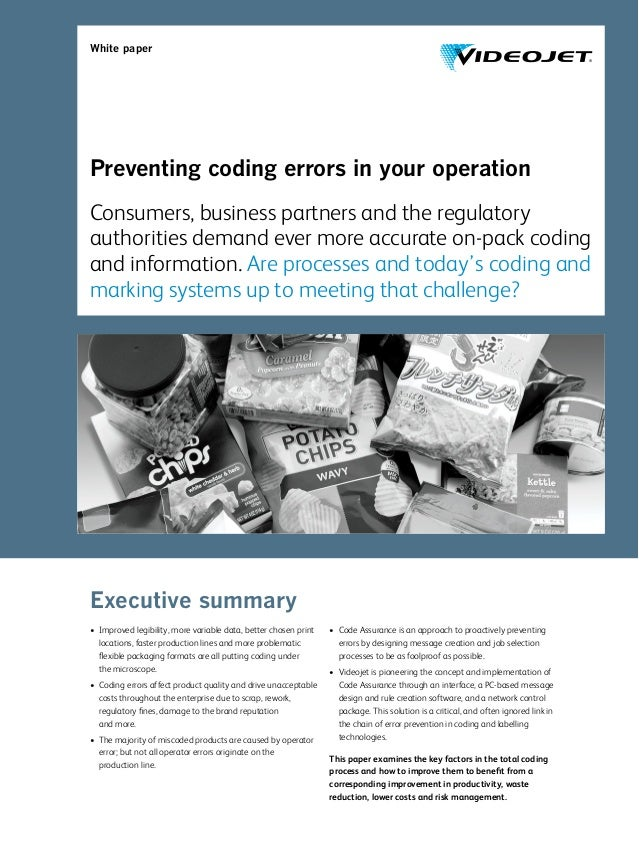 White paper Preventing coding errors in your operation Consumers, business partners and the regulatory authorities demand ...