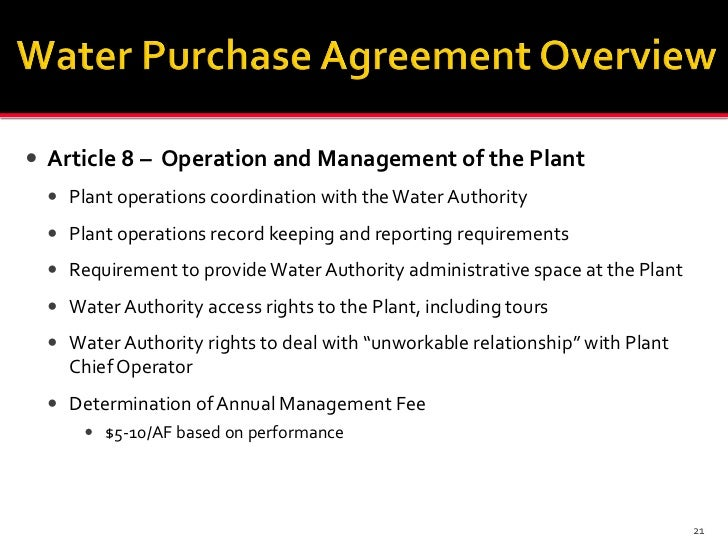 Overview Of Key Terms For A Water Purchase Agreement Between The San