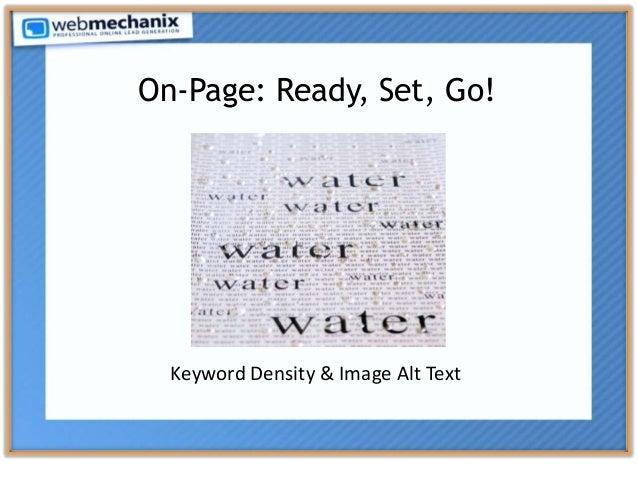 On-Page: Ready, Set, Go! Keyword Density & Image Alt Text