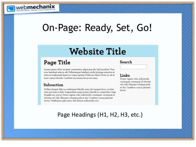 On-Page: Ready, Set, Go! Page Headings (H1, H2, H3, etc.)