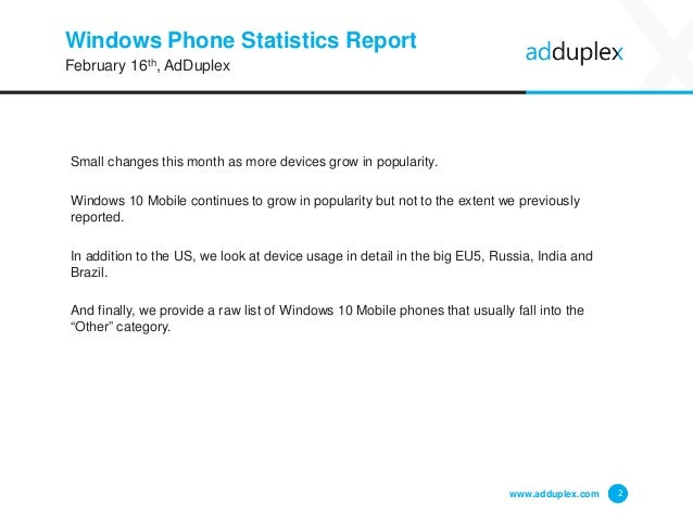 AdDuplex Windows Phone Device Statistics Report for February, 2016 Slide 2