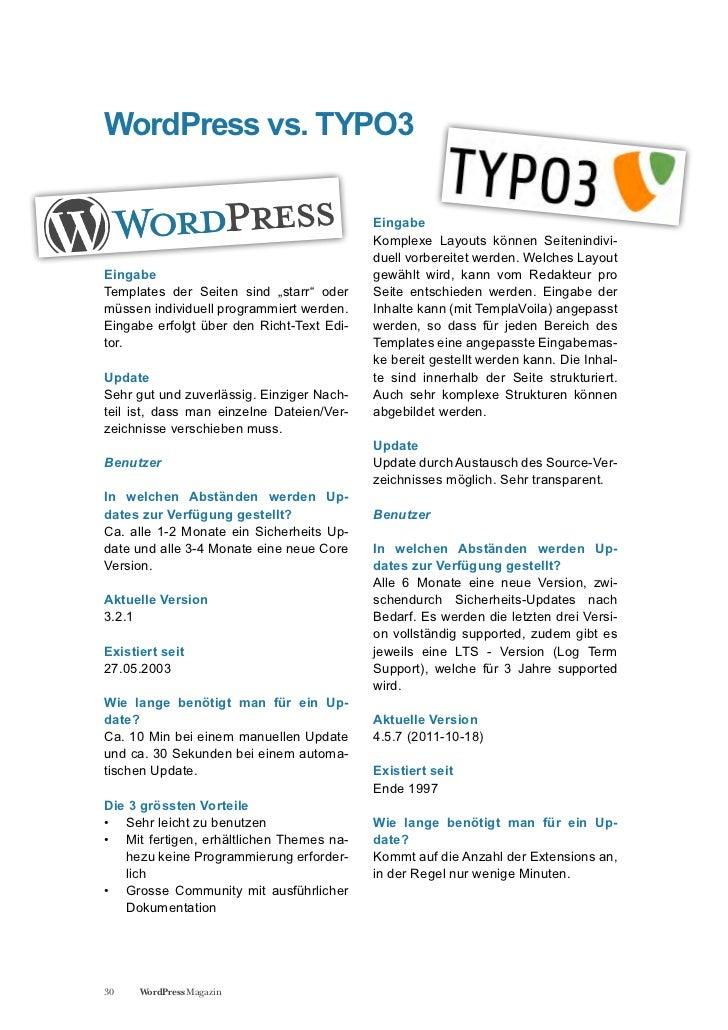 WordPress vs. TYPO3                                           Eingabe                                           Komplexe L...