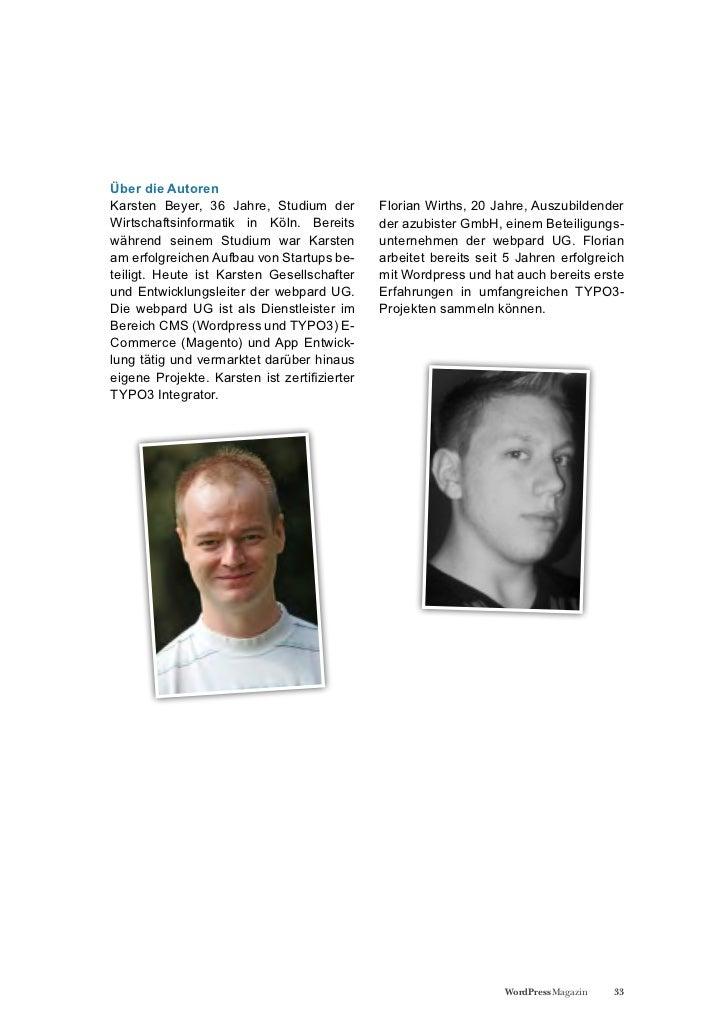Über die AutorenKarsten Beyer, 36 Jahre, Studium der          Florian Wirths, 20 Jahre, AuszubildenderWirtschaftsinformati...