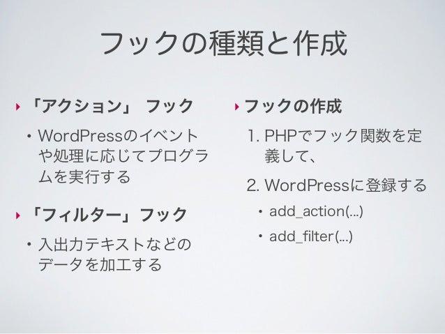 メインクエリの検索条件の変更actionフック登録          フック名         実行したい関数の名前  add_action( pre_get_posts, my_query_fook );実行したい関数の定義  functio...