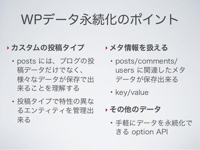 オプション‣ 投稿などに紐づかない、データを簡単に保存●    key/value●    アプリケーション全体の    設定値などの保存に利用                update_option($key, $value)       ...