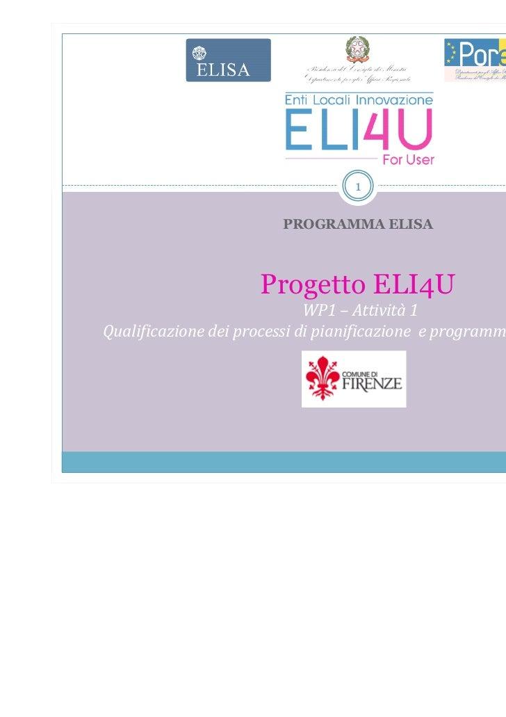 1                         PROGRAMMA ELISA                     Progetto ELI4U                             WP1 – Attività 1Q...