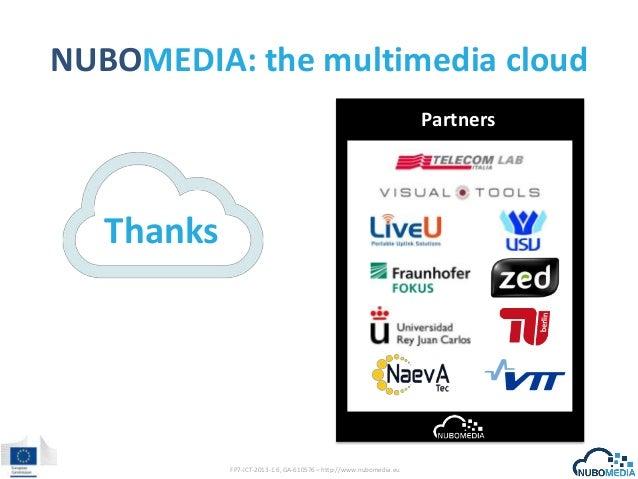 NUBOMEDIA: the multimedia cloud Partners  Thanks  FP7-ICT-2013-1.6, GA-610576 – http://www.nubomedia.eu