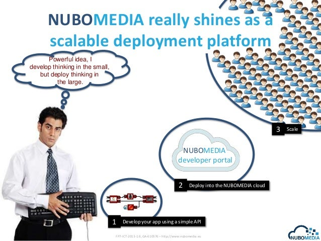 NUBOMEDIA really shines as a scalable deployment platform Powerful idea, I develop thinking in the small, but deploy think...