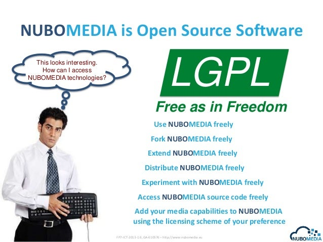 NUBOMEDIA is Open Source Software This looks interesting. How can I access NUBOMEDIA technologies?  LGPL Free as in Freedo...