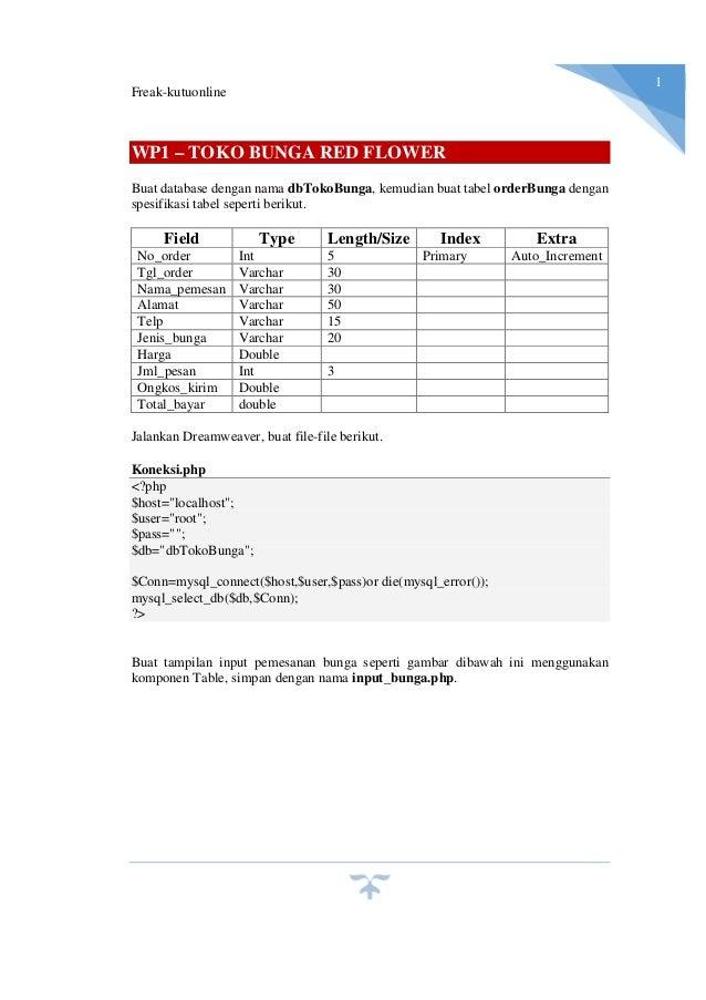 Freak-kutuonline 1 WP1 – TOKO BUNGA RED FLOWER Buat database dengan nama dbTokoBunga, kemudian buat tabel orderBunga denga...