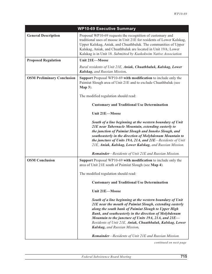 WP10-69                                   WP10-69 Executive Summary General Description           Proposal WP10-69 ...