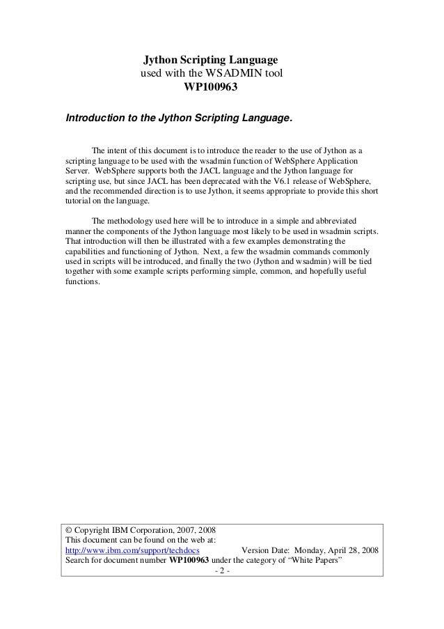 Wp100963 jython scripting with wsadmin tutorial