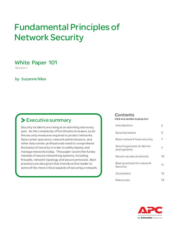 Fundamental Principles ofNetwork SecurityWhite Paper 101Revision 1by Suzanne Niles                                        ...