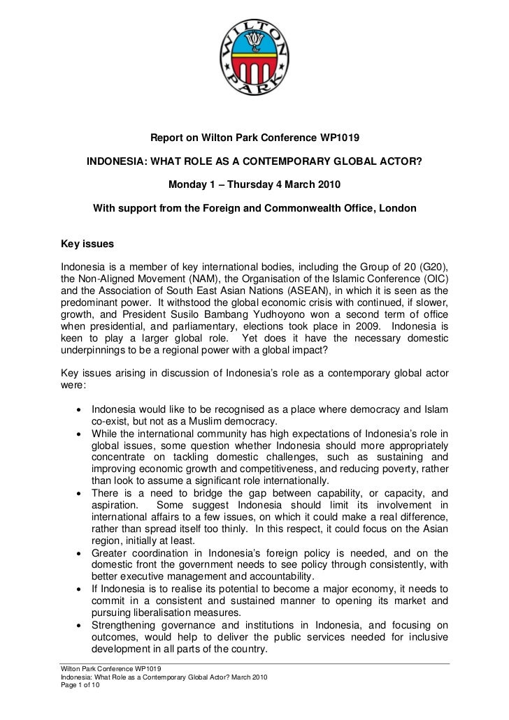 Error!                           Report on Wilton Park Conference WP1019        INDONESIA: WHAT ROLE AS A CONTEMPORARY GLO...