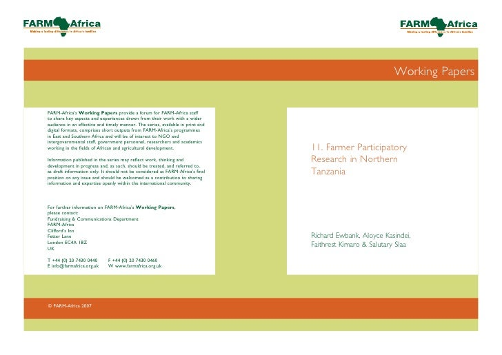 Working PapersFARM-Africa's Working Papers provide a forum for FARM-Africa staffto share key aspects and experiences drawn...