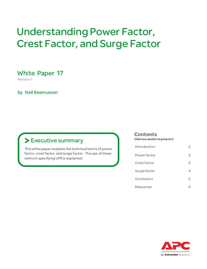 Understanding Power Factor,Crest Factor, and Surge FactorWhite Paper 17Revision 1by Neil Rasmussen                        ...